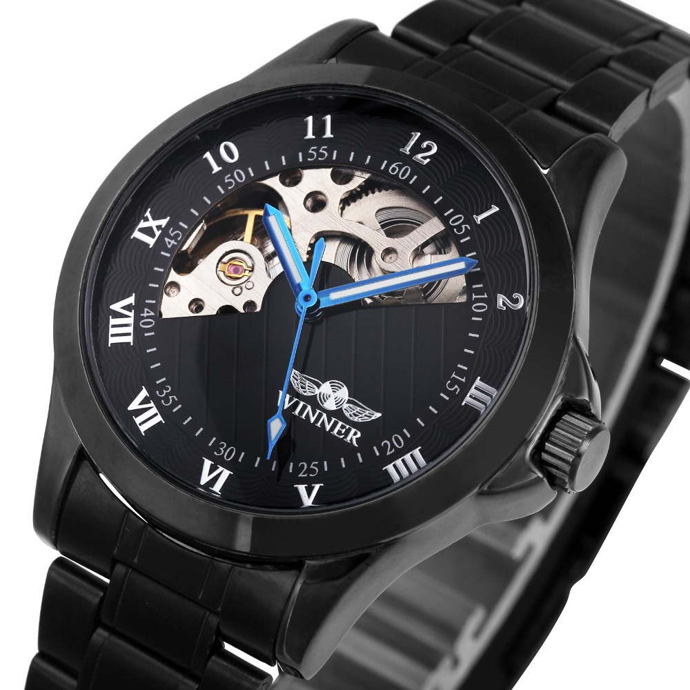 Fashion Mens Business Automatic Watches Unique Design Full Stainless Steel Clock Luminous Hands Roman & Arabic Numerals +BOX