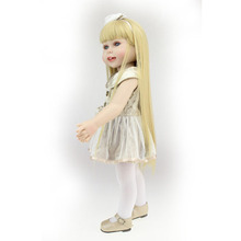 Descuentos! nuevo estilo 2017 hecho a mano americana 18 pulgadas baby doll para niñas realista bebé sonriente chica con pelo largo y Liso