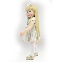 Rabaty! nowy styl 2017 handmade amerykański 18 cal baby doll dla dziewczyn realistyczne uśmiechnięte dziecko dziewczyna z długimi Prostymi włosami