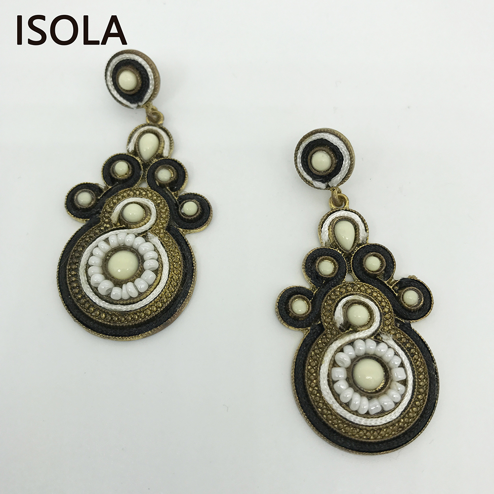 ISOLA Vintage Resin Filled Water Drop Soutache Earring Ethnic Style Charming Boho Earrings For Traditional Festivals
