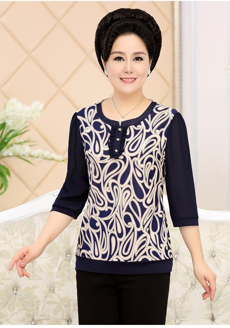 2017 Mother Chiffon Blouses Floral Print Tops Middle Aged Woman's Three Quater Sleeve Tunic Mature Lady Short Shirts O-neck Tops Plus Size Blouse (10)