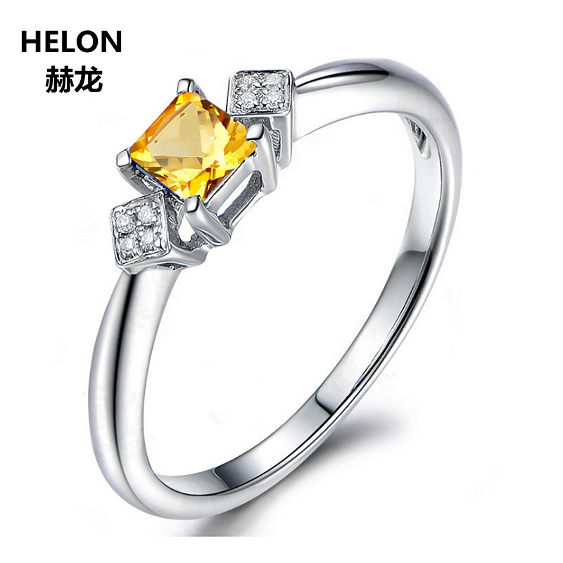 100% Natural Diamonds Engagement Wedding Ring Solid 14k White Gold 5x5mm Princess Citrine Women Ring Lover Jewelry