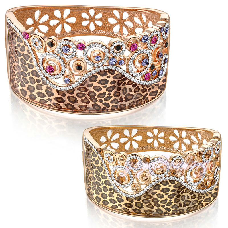 Mytys GP Hollow Flower and Leopard Pattern Crystal Beaded Wide Bangle for Lady B21 B22