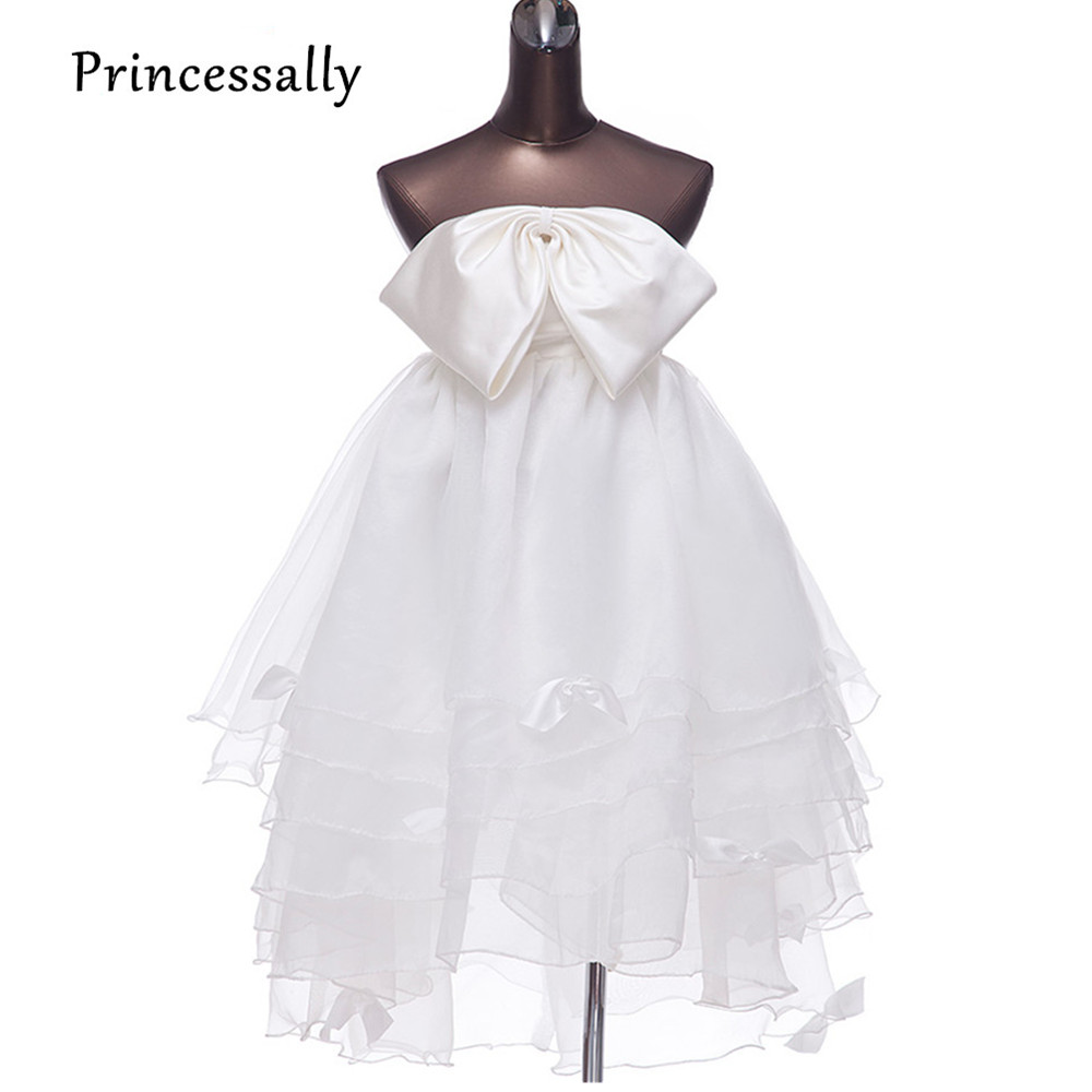 Low Waist Wedding Gowns: High Waist Maternity Wedding Dress Bow High Low Wedding