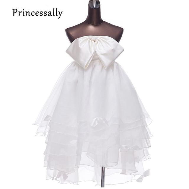 Hohe Taille Mutterschaft Hochzeitskleid Bow High Low Brautkleid für ...