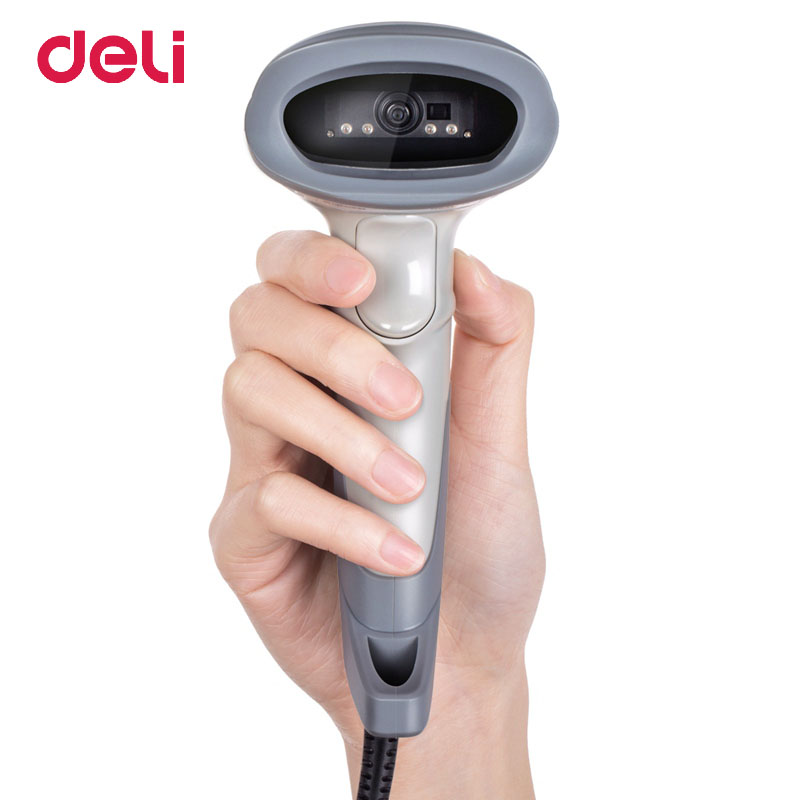 Deli Laser Wired Barcode Scanner Reader Handheld 1D/2D/QR Code Image Scanner USB Barcode Scanner for Supermarket new 2 4g wireless receiver usb barcode reader scanner wirescanner barcode usb ps2 rs232 laser bar code scanner reader
