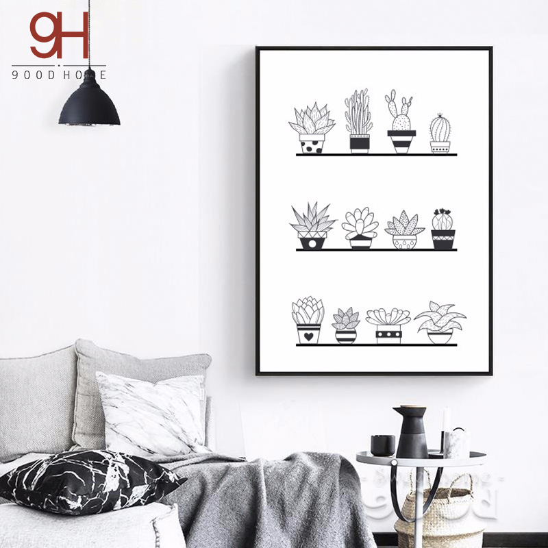 Pot Plant Canvas Umělecká reprodukce Painting Poster, Wall Wall for Home Decoration, Wall Decor S16026