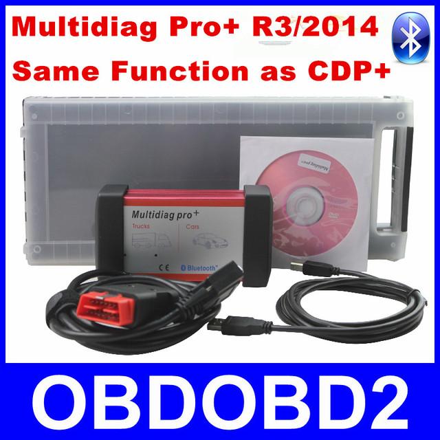 Últimas Software R3/2014 Multidiag Pro + Con Tarjeta de 4 GB TF + Bluetooth + Caja De Plástico Funciona Coches/camión Genérico igual que CDP + TCS