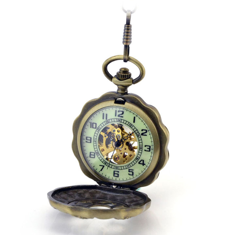 Luminous Surface ! Women Pocket Watch Fashion Vintage Bronze Skeleton Mechanical Hand Wind Pocket Fob Watches With Chain