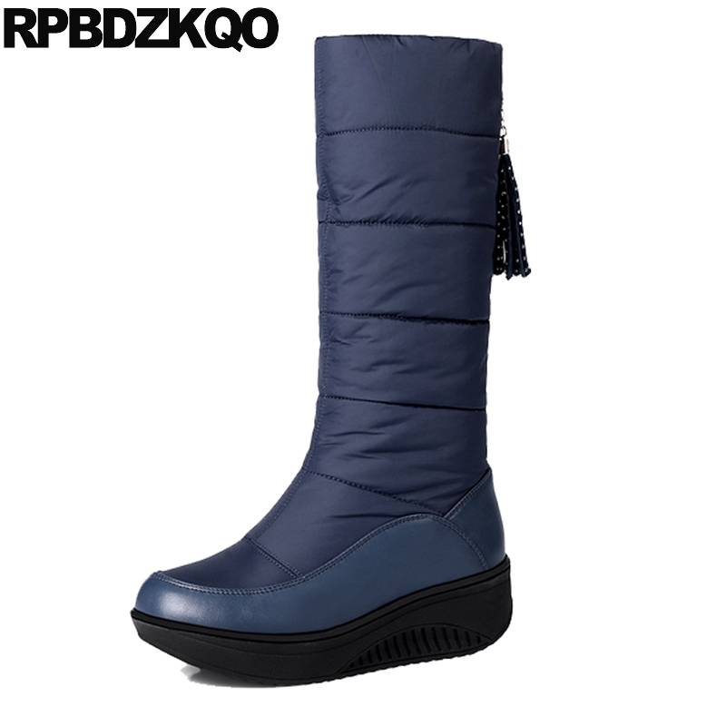 Orange Blue Waterproof Snow Boots Women 10 Shoes Muffin Flat Ladies 12 44 Big Size Mid Calf Platform Slip On Fringe Winter Down yub brand waterproof rain boots for women with solid color slip on winter mid calf shoes for girls