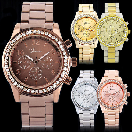 Geneva Bling Crystal Ladies Women Girl Unisex Stainless Steel Quartz Wrist Watch 5UWP C2K5W