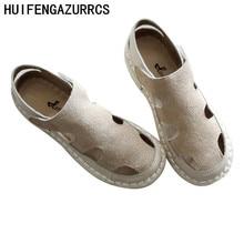 HUIFENGAZURRCS-Original retro literature Cow Suede  pure handmade soft soles women shoes comfortable simple hollowed sandals
