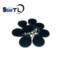 Free Shipping 100 pcs RFID ID card 125Khz Proximity key fobs Chain Token Keyfob keytag chain Black Color
