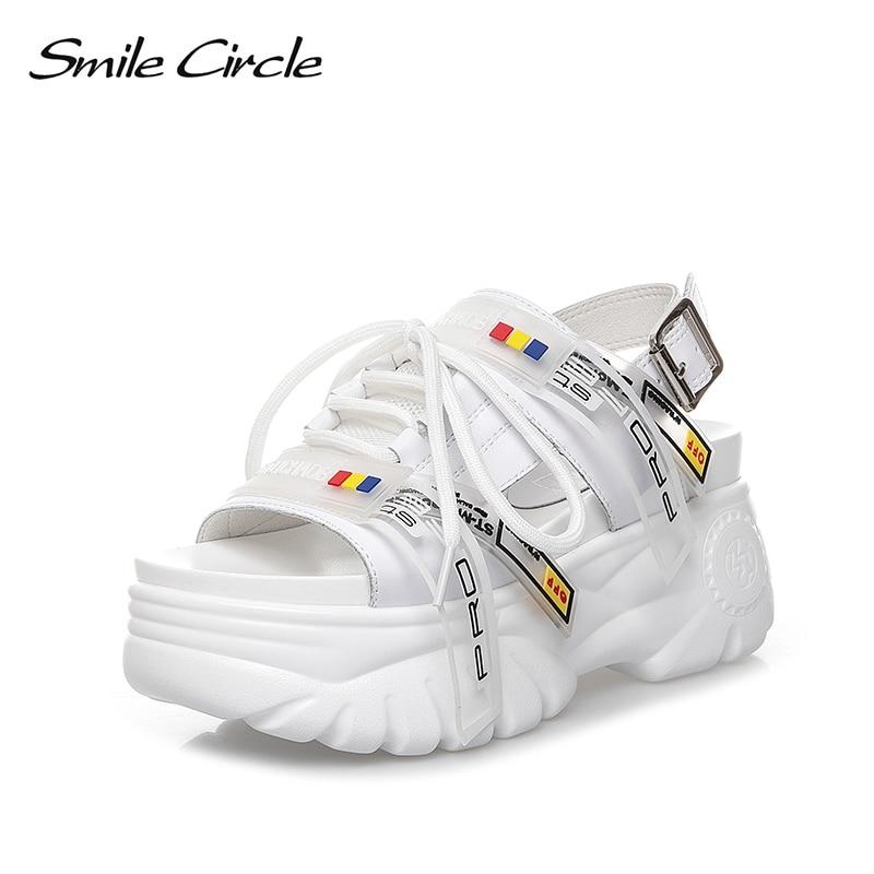 Smile Circle chunky sandals women fashion Ribbon 8cm Thick bottom Flat platform sandals for women summer
