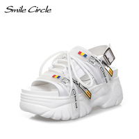 Smile Circle chunky sandals women fashion Ribbon 8cm Thick bottom Flat platform sandals for women summer Shoes