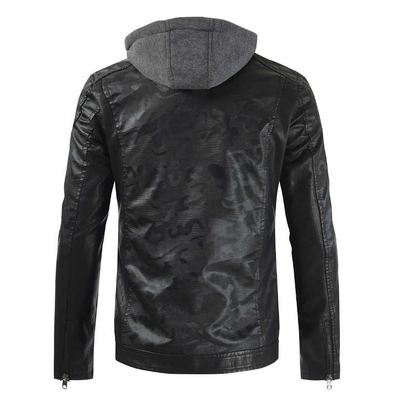 Осенне-зимняя Качественная мужская кожаная куртка плюс бархатная тонкая мотоциклетная однотонная ветрозащитная куртка с капюшоном из искусственной кожи M-3XL
