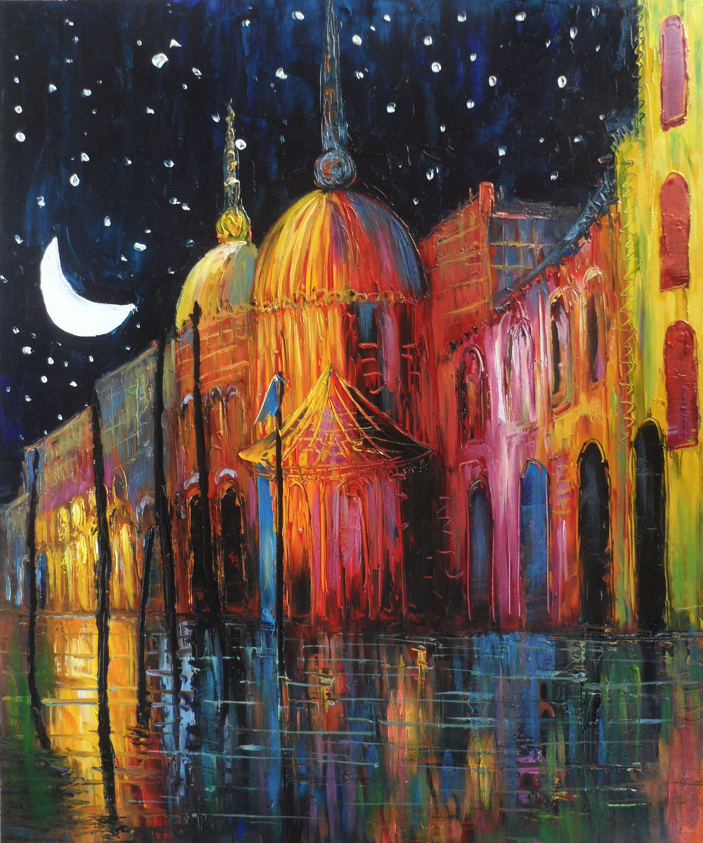 Quadro dipinto a mano dipinti astratti su tela notte for Immagini dipinti astratti