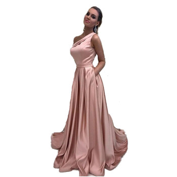 One Shoulder Floor Length Court Train A-Line High Quality Satin Evening Dresses Long Party Gowns For Prom