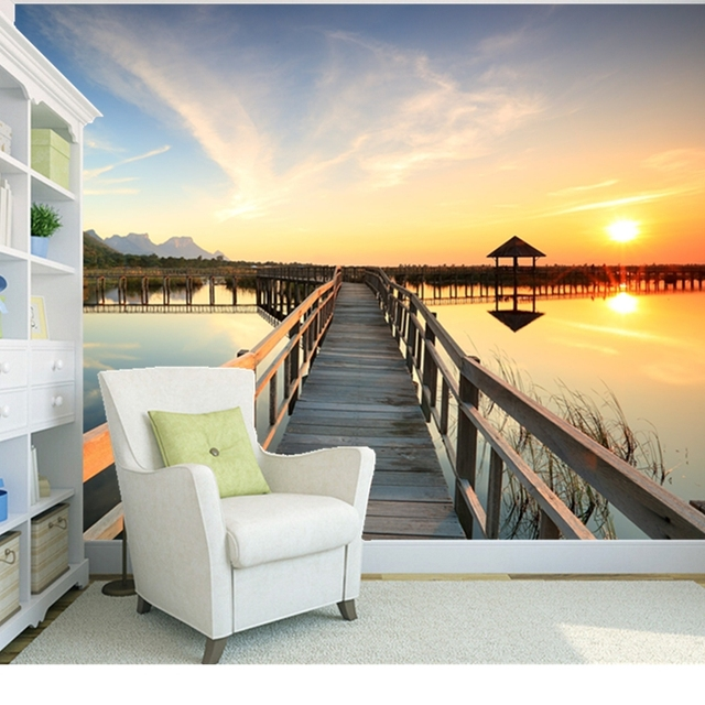 Custom Natural Scenery Wallpaper Sunrise Sea 3D Photo Mural For Living Room Bedroom Wall
