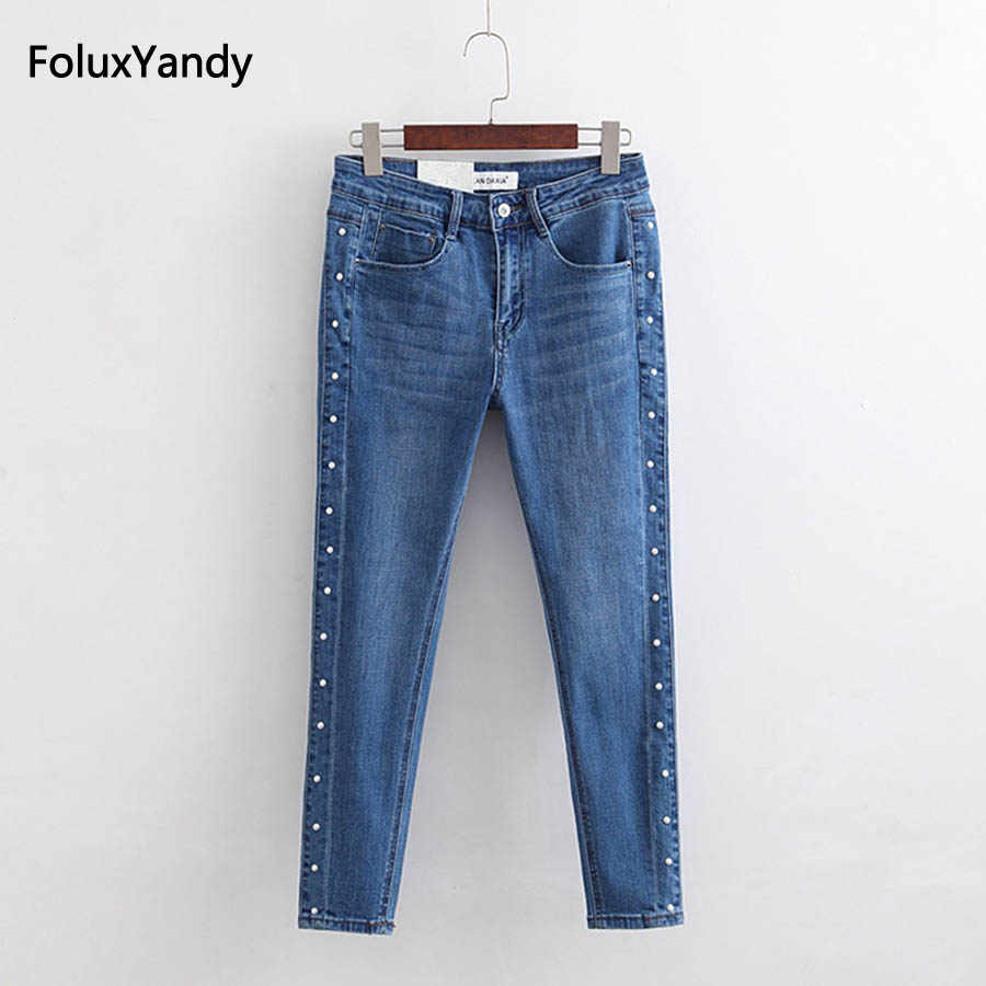 aa15e477b3d6f Casual Rivet Jeans Women Plus Size Skinny Pencil Pants Denim Stretched Jeans  Blue KKFY1674
