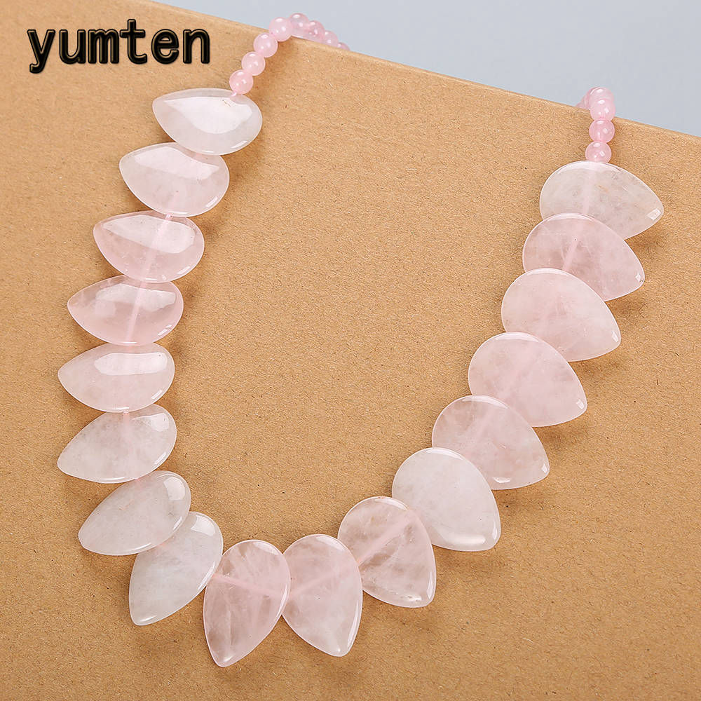 Yumten Rose Quartz Necklace Women Cross Natural Stone Leaf Pendant Flower Female Reiki Fine Jewelry Sautoir Colar Feminino BijouYumten Rose Quartz Necklace Women Cross Natural Stone Leaf Pendant Flower Female Reiki Fine Jewelry Sautoir Colar Feminino Bijou