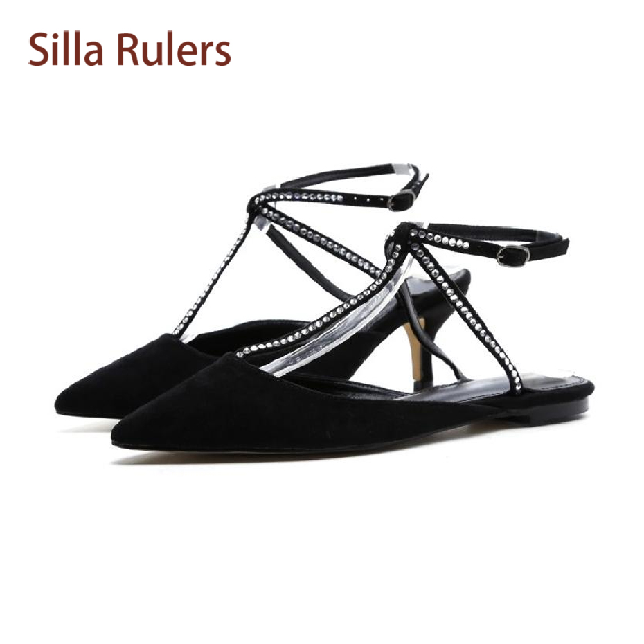 Silla Rulers Sexy T-strap Crystal Decor Spring Summer Shoes Women Fashion Pointed Toe Buckle Strap Ladies Wedding Party Shoes eiswelt shoes spring summer fashion rivet flats party pointed flock women shoes wedding shoes glitter flat ladies shoes zjf84