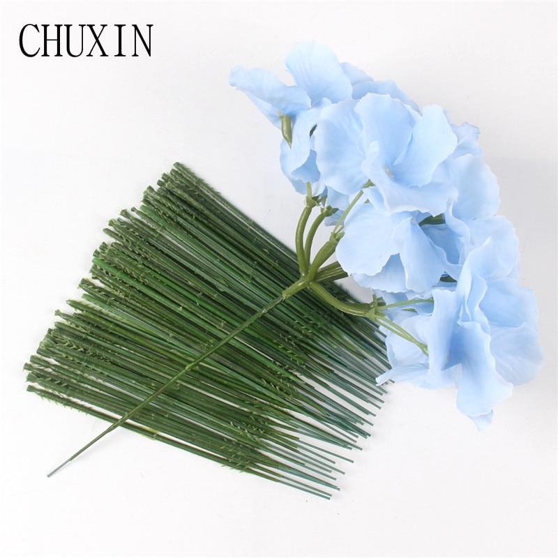 50pcs 13cm Flower Stem For Hydrangea Rose Peony Flower Wall Ball For Wedding Decoration Accessories Diameter 2mm