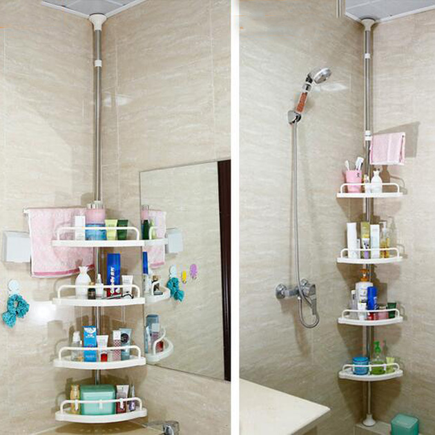 Adjustable Telescopic Bathroom Corner Shower Shelf Rack 4 Tier Caddy ...