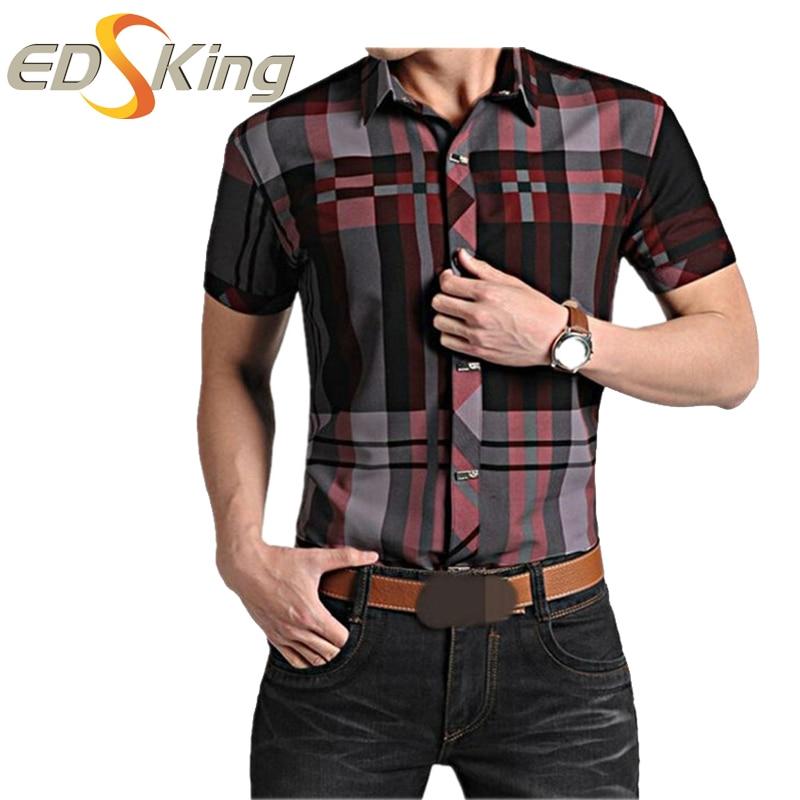 Mens Short Sleeve Shirts Plaid Print Dress Man Social