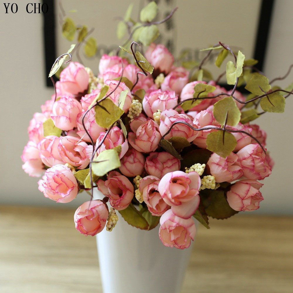 15 26 head cheap rose tea bud artificial flowers for decoratio office party