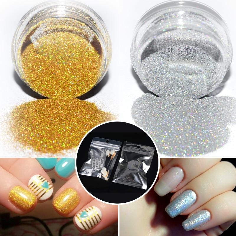 1 g / caja de polvo de brillo de uñas holográfico y 2 piezas de - Arte de uñas