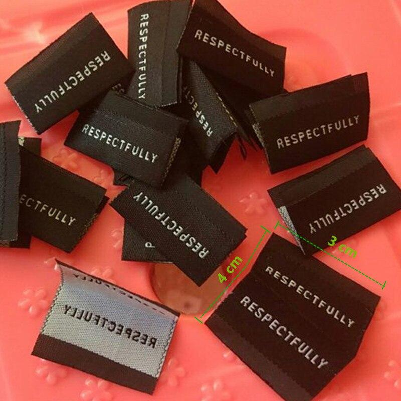 1000 قطع مخصصة تسميات عالية الكثافة البوليستر القماش المنسوجة التسمية الملابس السوداء 3*4 cm-في ملصقات الملابس من المنزل والحديقة على  مجموعة 1