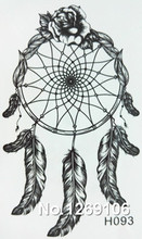 10x6cm Temporary Small Fashion Tattoo Black Feather Dreamcatcher Waterproof Temporary Tattoo Stickers