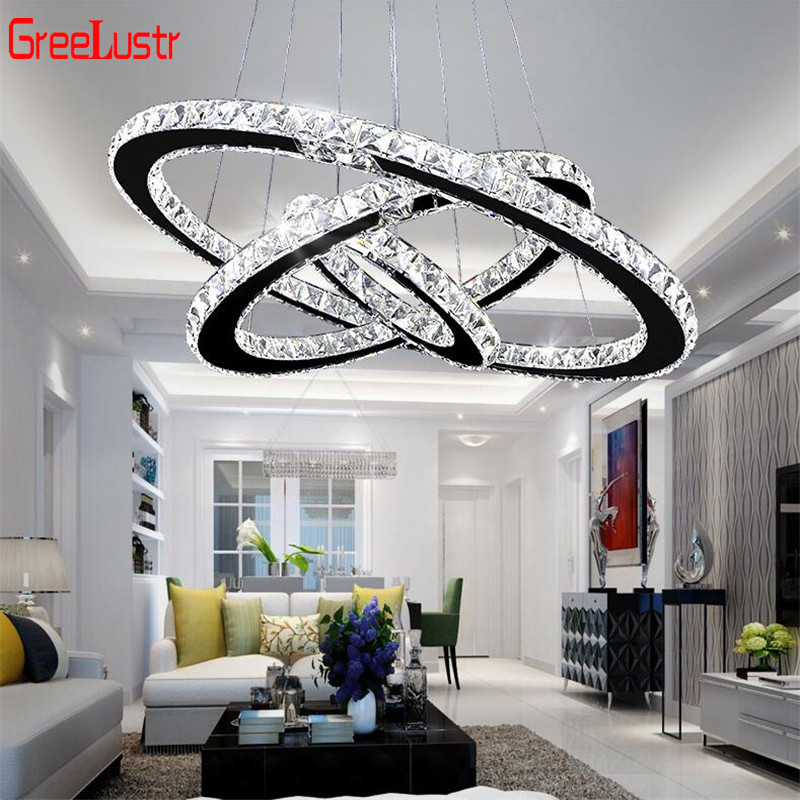 Modern Crystal 3 Rings Chandeliers Led Lustre Chandelier Ceiling For Living Room Chrome Suspended lamp Lustres Pendant Lamp(China)
