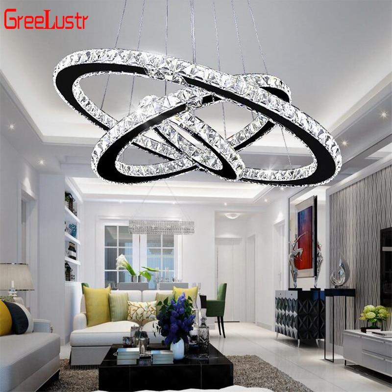 Lustre moderne en cristal Led K9, éclairage domestique, lustres en Chrome, montages de suspension en plafond pour salon