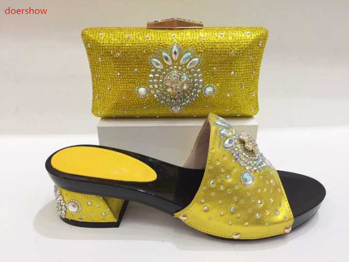 doershow Italy Shoe and Bag Women High Quality Italian Shoe and Bag Set Decorated with Rhinestone African Wedding KH1-16 doershow latest purple color shoes and bag set decorated with rhinestone high quality matching italian shoe and bag set go1 11