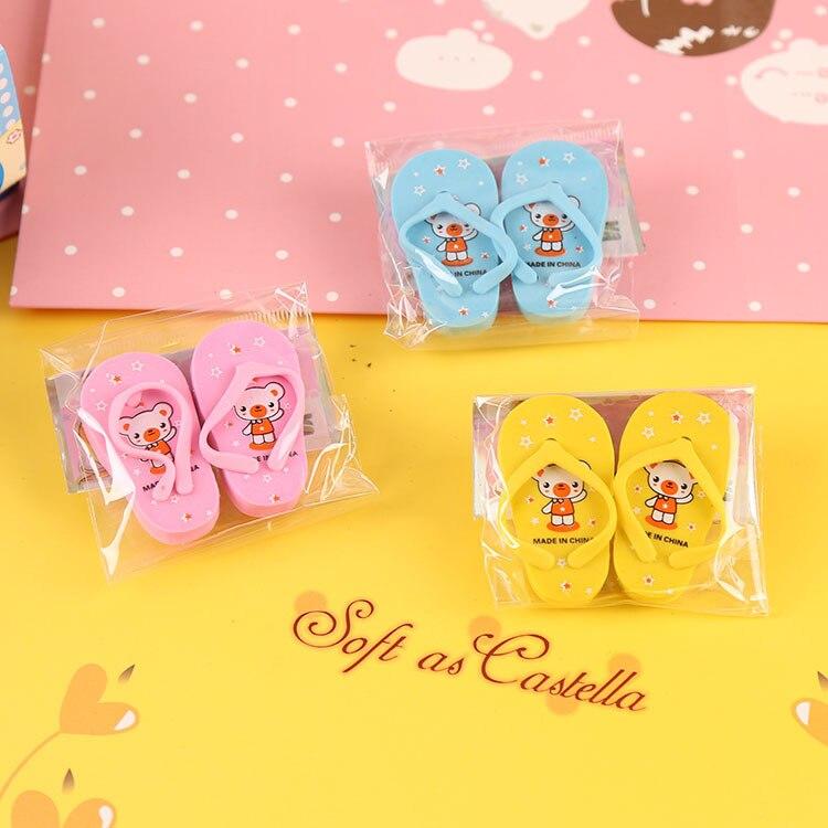 5PCS Creative 3D Cartoon Slipper Pencil Eraser Rubber Eraser Student Prizes Promotional Gift Stationery Korean Papelaria