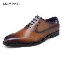 MALONEDA бренда Simple Дизайн ручной работы мужские свадебные туфли кожа 4 цвета для вас, чтобы выбрать