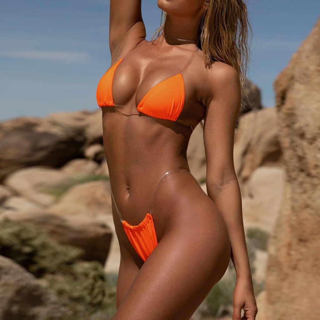Şeffaf mikro bikini 2020 seksi tanga mayo ayrı Bandeau Bikini seti Push-Up şeffaf kayış brezilyalı mayo Biquini # H