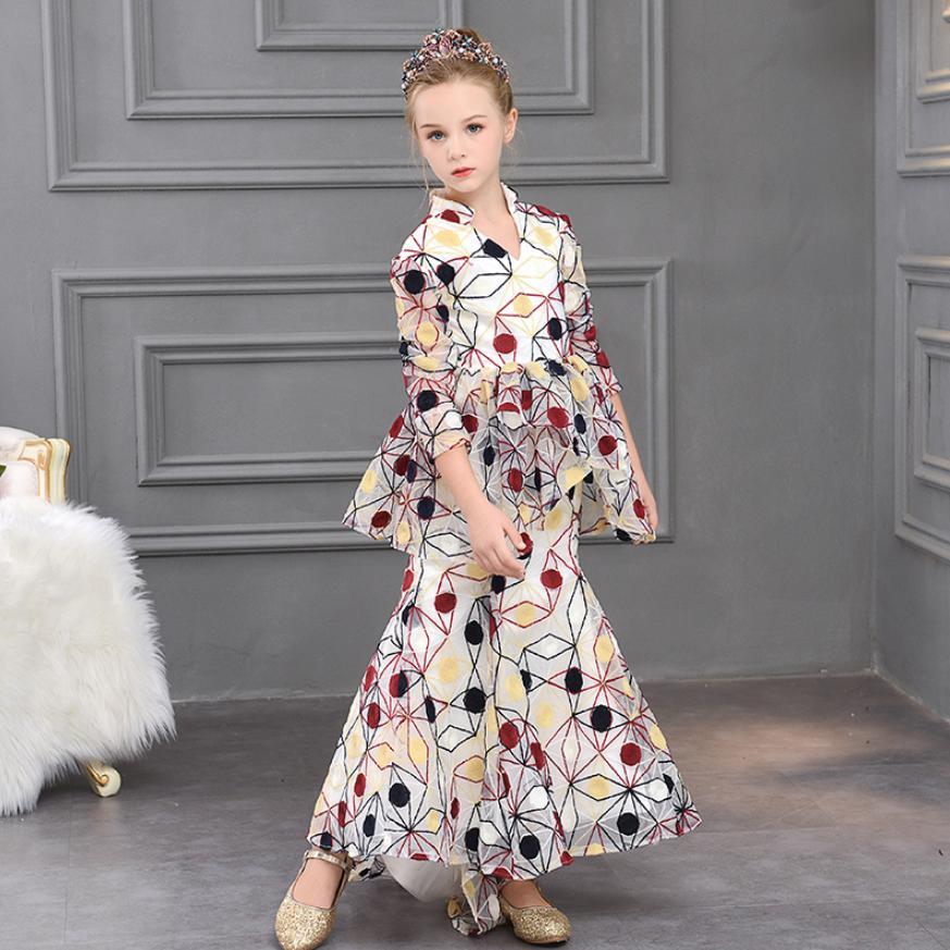 Enfants filles impression robe de sirène bébé mignon princesse robe de soirée modèle Cheongsam mode t-taiwan enfants hôte Costume Y576 - 2