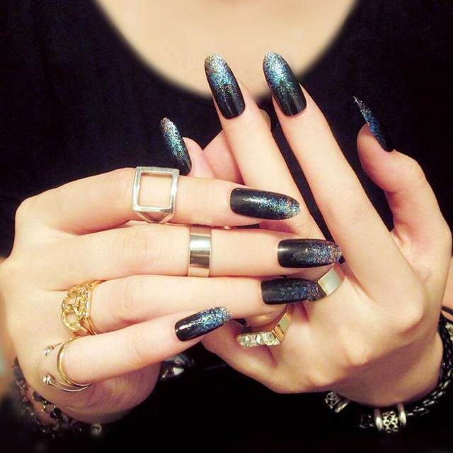 New Bordeaux Metal Frosted Full Cover False Nails Stiletto Y Acrylic Nail Tip Uv Long Artificial Fake Glue
