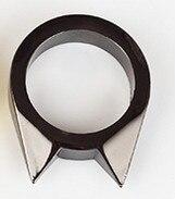 1 шт., женское и мужское безопасное кольцо для выживания, инструмент для самозащиты, кольцо из нержавеющей стали, кольцо для защиты пальцев, инструмент, серебро, золото, черный цвет - Цвет: Черный