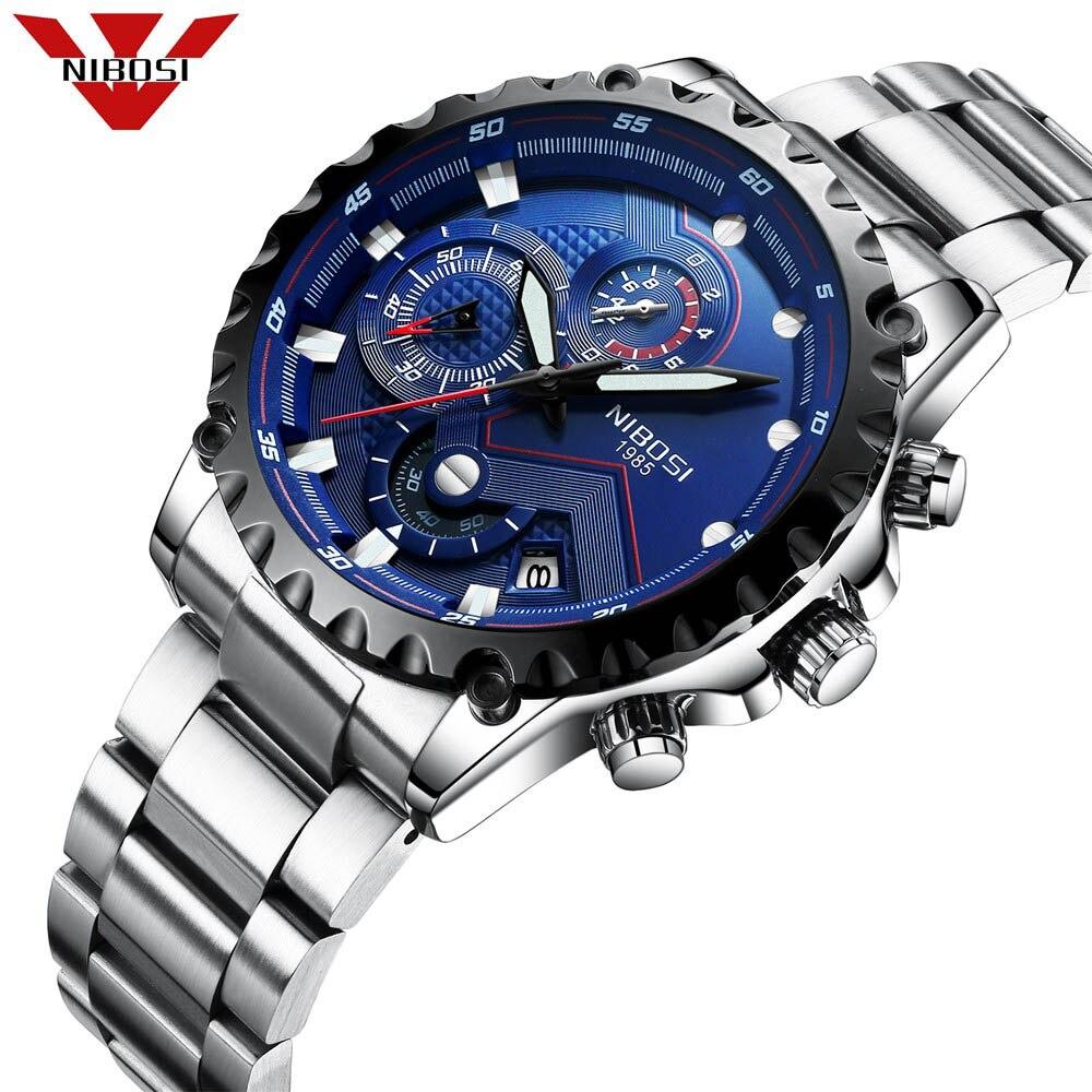 279e57a17b76 2018 nibosi Top marca de lujo hombres de acero inoxidable impermeable  Relojes deportivos hombres de cuarzo analógico reloj azul reloj de los  hombres