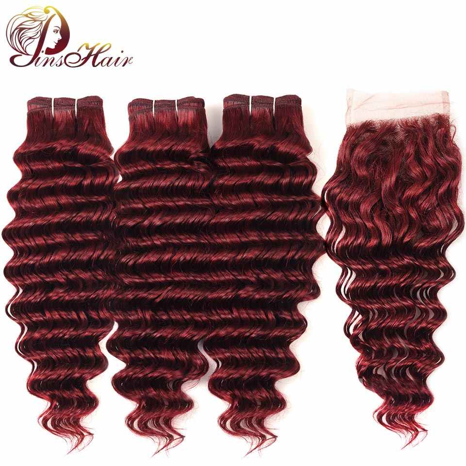 Pinshair Bold Red 99J Burgundy Bundles With Closure Deep Wave Indian Human Hair 3 Bundles With Closure Non Remy Hair No Tangle