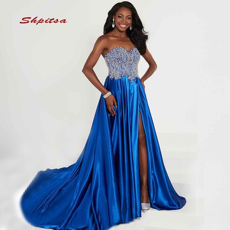 Paillettes longues robes de grande taille de bal femmes Sequin 8th Grade bleu Royal robes de soirée de bal pour robe de Graduation