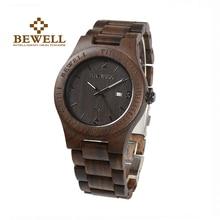 BEWELL Men's Watch Quartz Watch Unique Men Natural Wood Stra