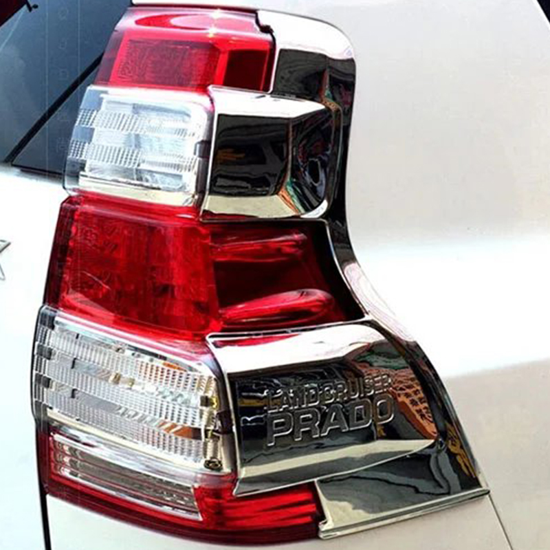 For <font><b>Toyota</b></font> <font><b>Prado</b></font> 150 2014 2015 <font><b>2016</b></font> 2017 ABS Chrome Rear Tail Light Lamps Mouldings Tail Light Frame Car <font><b>Accessories</b></font> image