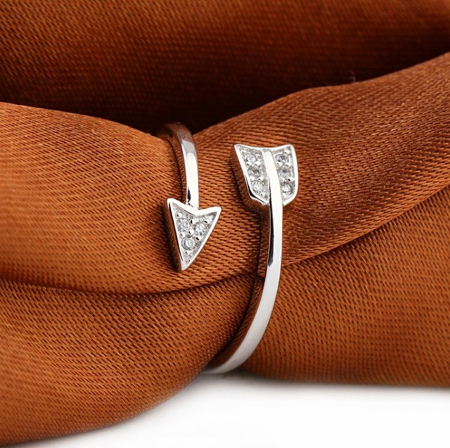 Shuangshuo 2017 New Arrival Fashion  Silver Plated Arrow crystal rings for women Adjustable Engagement ring arrow women 4