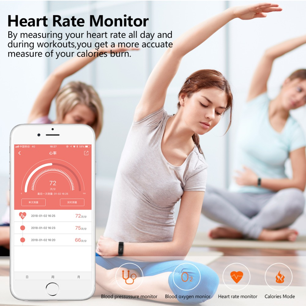 Image 4 - NAIKU Fitness Tracker F1 Sleep Tracker Smart Bracelet Heart Rate Monitor Waterproof Smart Band Activity Tracker for iPhone-in Smart Wristbands from Consumer Electronics