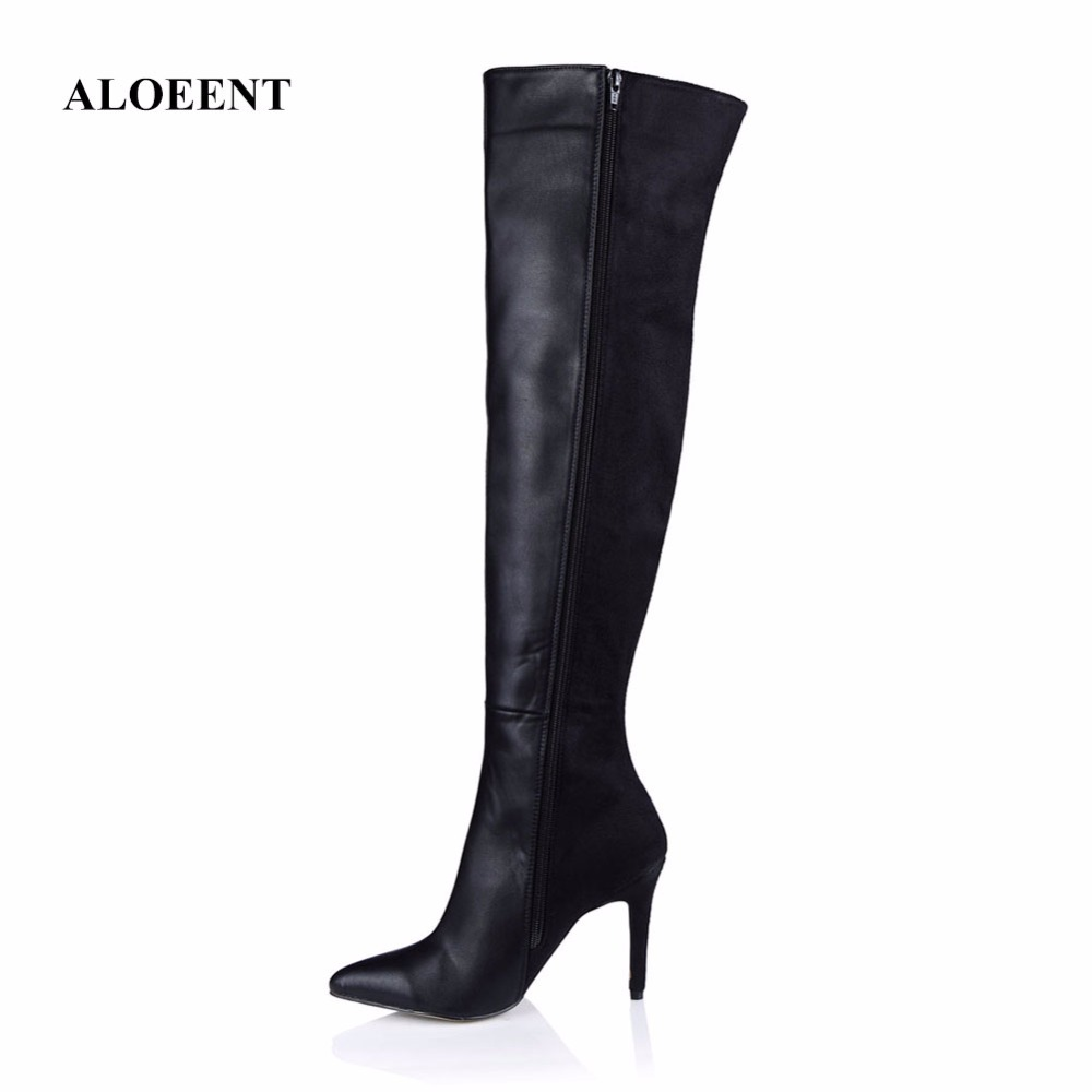 ALOEENT Autumn Winter Fashion Over the Knee Boots Women Boots Stretch Slim Thigh High Heels Shoes Woman Sapatos